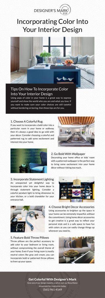 Incorporating Color Into Your Interior Design infographic